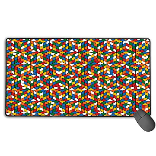 LNUO-2 Large Gaming Mouse Pad/Mat, Rubix Cube Pattern Custom Mouse Mats with Non-Slip Rubber Base for Typist Office, Durable Stitched Edges ()