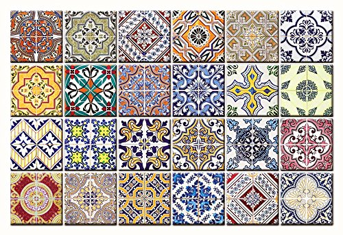 Tile Stickers 24 PC Set Authentic Traditional Talavera Tiles Stickers Bathroom & Kitchen Tile Decals Easy to Apply Just Peel and Stick Home Decor 6x6 Inch (Kitchen Decals HA2)