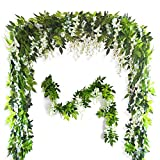 Musdoney 26Ft 4 Pcs Artificial Flowers Silk Wisteria Ivy Vine Green Leaf Hanging Vine Garland for Wedding Party Home Garden Wall Decor (White)