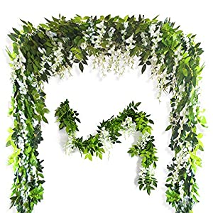 Musdoney 26Ft 4 Pcs Artificial Flowers Silk Wisteria Ivy Vine Green Leaf Hanging Vine Garland for Wedding Party Home Garden Wall Decor (White) 8