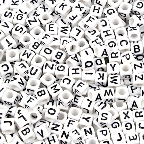 Goodlucky 800 Pcs Acrylic Letter Beads White Alphabet Beads with Black Letters for DIY Bracelets, Necklaces, Children's Educational Toys, Handmade Gif…