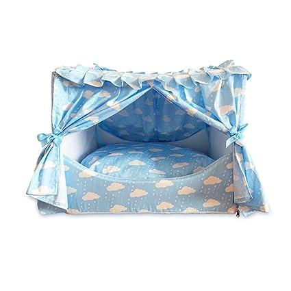 QIAIQQ Verano Cama para Mascotas Desmontable Anti Mosquito Casa De Perro Azul Algodón Respirable Suave Mantener