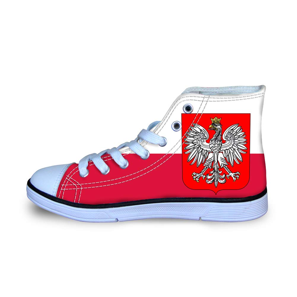 Canvas High Top Sneaker Casual Skate Shoe Boys Girls Poland Flag National Emblem
