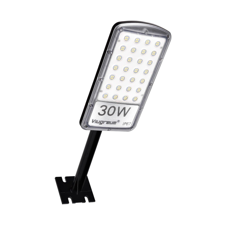 Viugreum LED Parking Lot Light, 30W Waterproof LED Street Light, 3000 Lumen Daylight White (6000K), Super Bright Wall Mount Barn Light for Docks, Driveways, Backyards