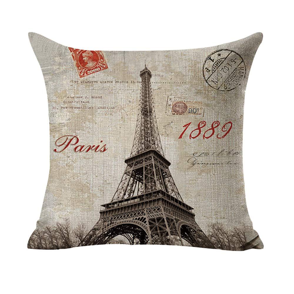 Almohada Paris Torre Eiffel Impreso Sofá Cojín decorativo Caso agarre Bar almohada decorativa Cojín 45 x 45 cm 5: Amazon.es: Hogar