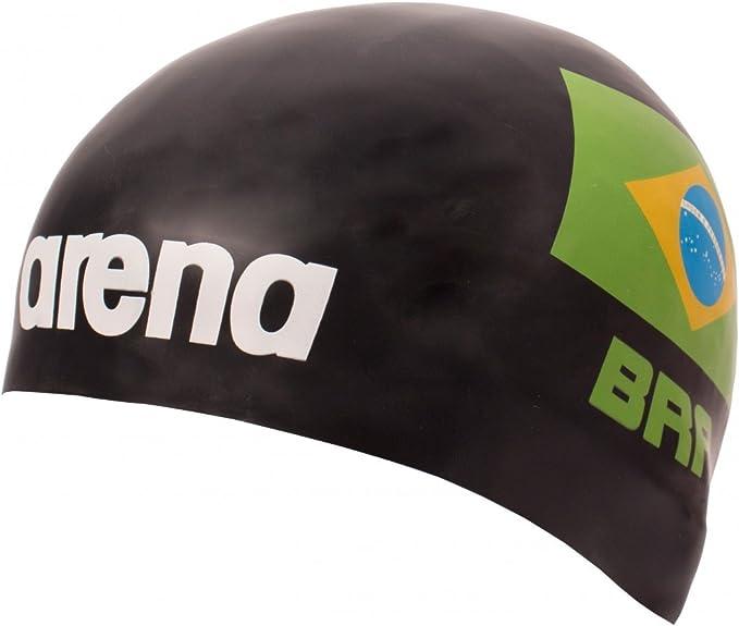Euras GmbH Arena - Gorro de natación de silicona 3D, diseño de bandera nacional de Brasil - Edición limitada República Federativa do Brasil, color negro: Amazon.es: Deportes y aire libre