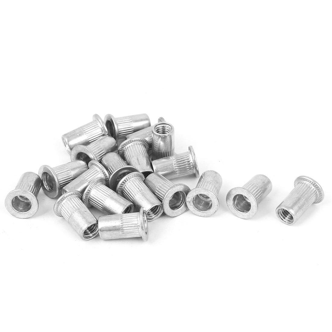 Uxcell a16041900ux0337 M5 Aluminum Flat Head Rivet Nut Insert Nutsert Silver Tone 20pcs Pack of 20