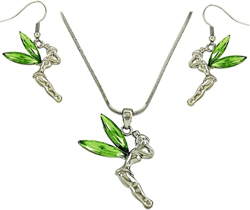Tinkerbell Heart made with Swarovski Crystal Dragonfly fairy Tinker Earrings New