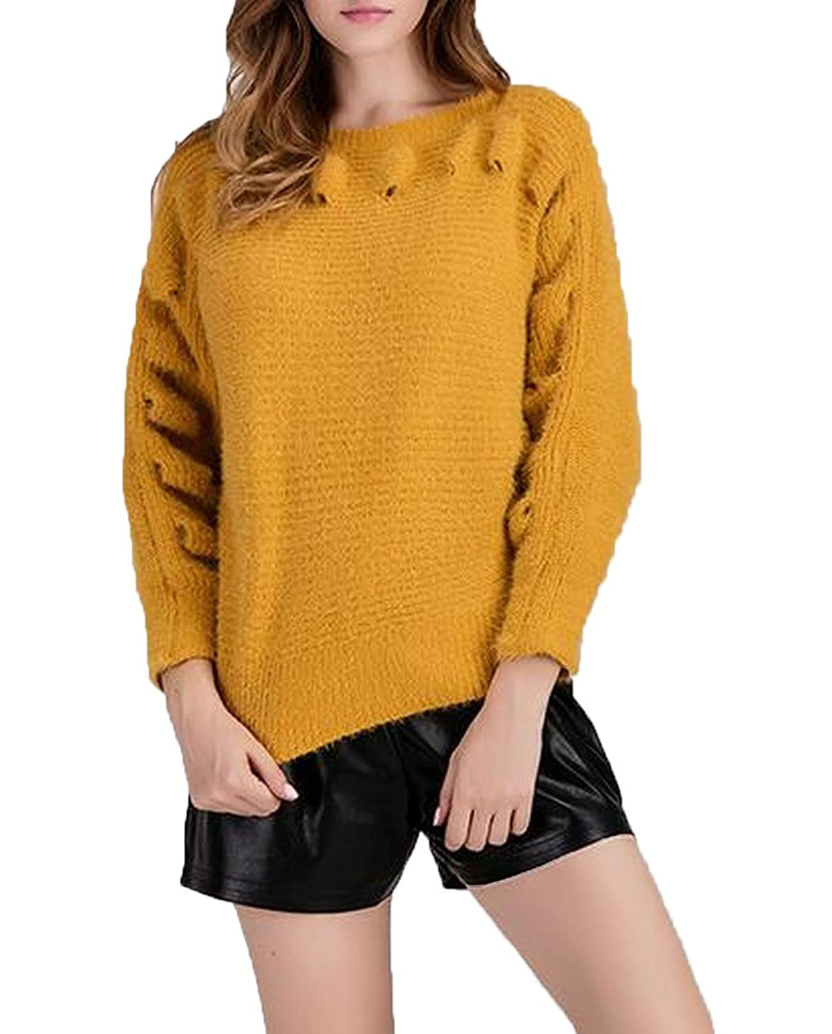 Abetteric Women's Pregnant Women Crewneck Hole Knitted Sweaters