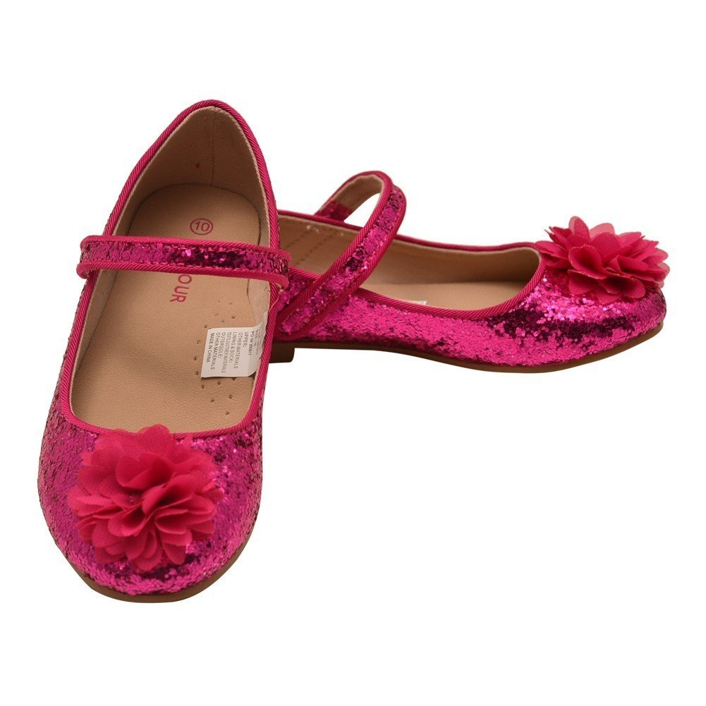 L'Amour Little Girls Fuchsia Glitter Floral Special Occasion Flats 10 Toddler