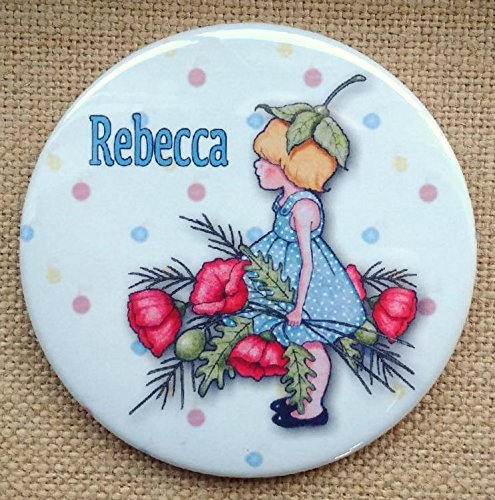 Personalized Pocket or Purse Mirror, NAME, Drawing of Girl With Red Poppies, Whimsical Art