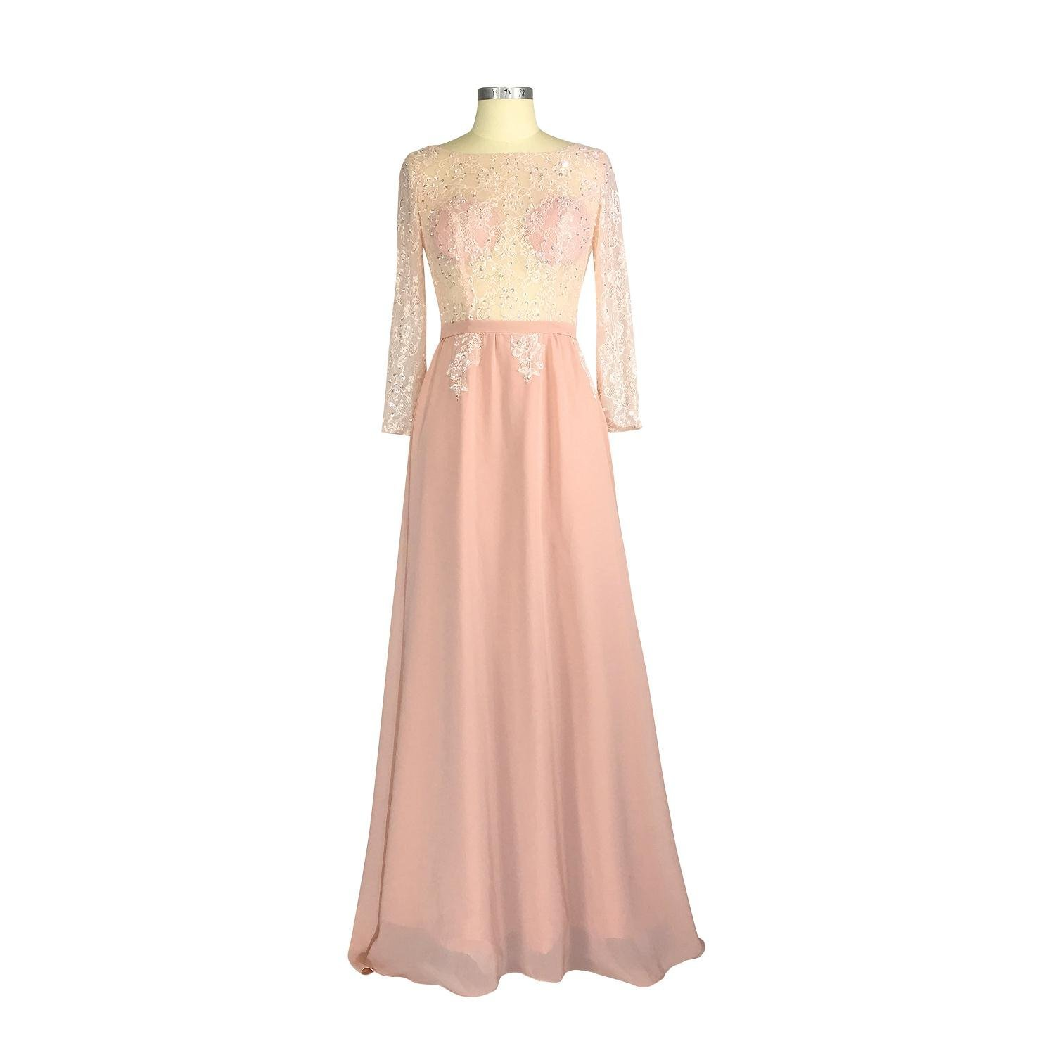 Nameilisha See Through Jewel Long Sleeves A-line Chiffon Nude Pink Formal Gowns Party Dresses Evening Dress NM5015