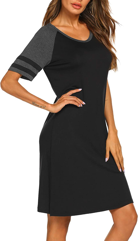 Hotouch Women's Nightgowns Short Sleeve Night Shirt for Sleeping Comfy Sleepwear Boyfriend Style Striped T Shirt Gown S-XXL