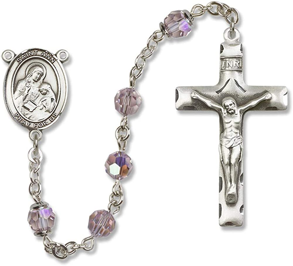 St All Sterling Silver Rosary with Light Amethyst Ann is the Patron Saint of Housekeepers//Mothers. 6mm Swarovski Ann Center St Austrian Tin Cut Aurora Borealis Beads