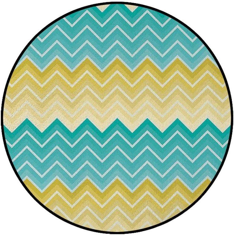 36 x 72 Half Round Door Mat,Horizontal Chevron Motifs Zigzag Lines Pattern Ombre Inspired Design Outdoor//Indoor Entry Rug,for Home Kitchen Office Standing Desk Mats,Aqua Mustard