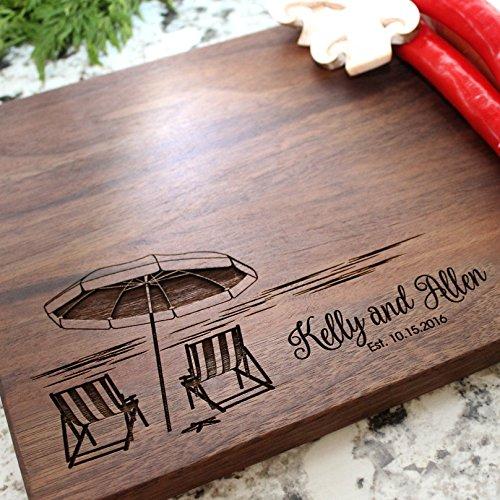 Beach Destination Personalized Cutting Board - Engraved Cutting Board, Custom Cutting Board, Wedding Gift, Housewarming Gift, Anniversary Gift, Engagement W-051GB