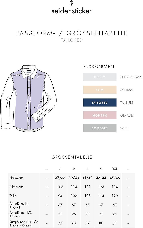100/% Baumwolle B/ügelfreies schmales Hemd mit Kent-Kragen Seidensticker Herren Business Hemd Shaped Fit Langarm