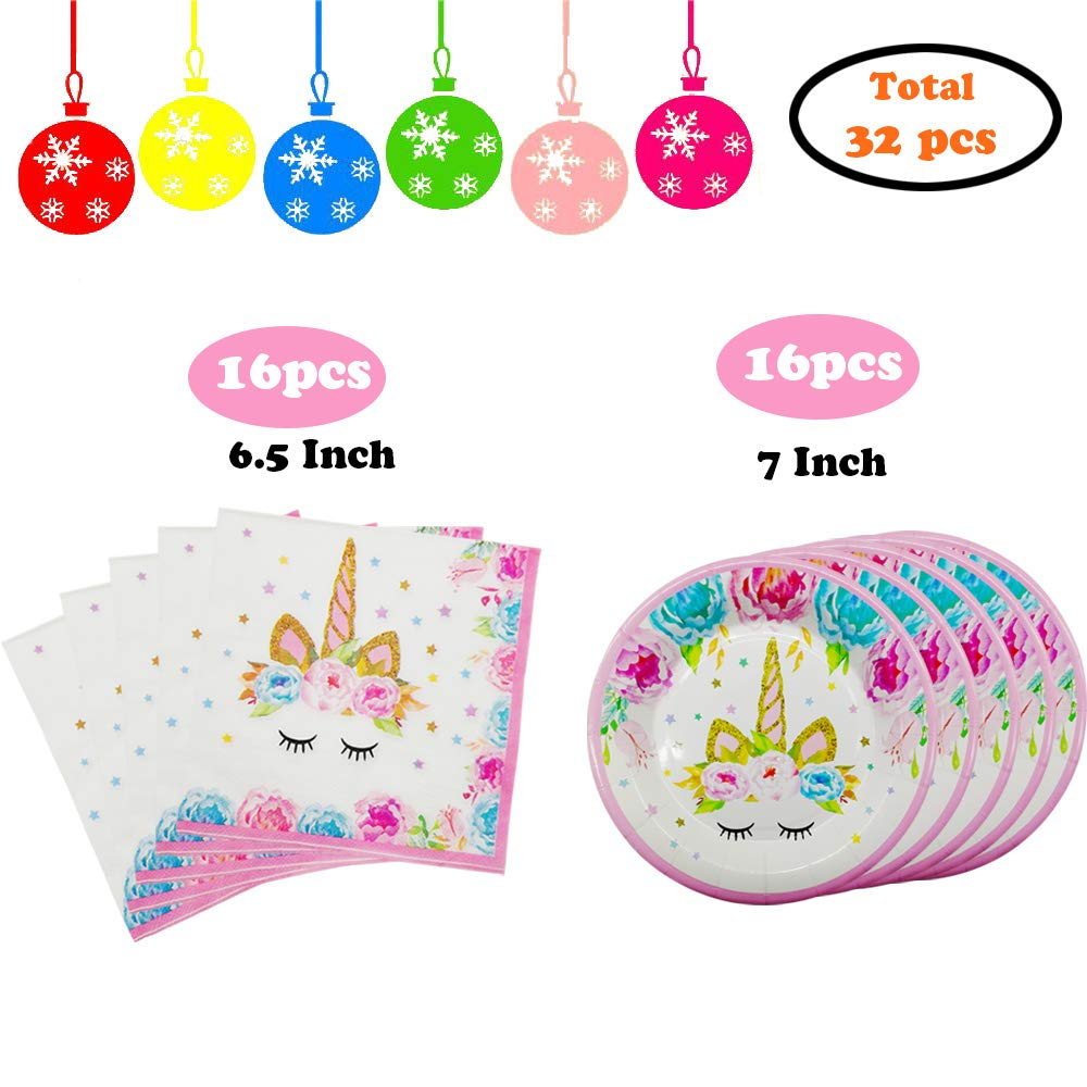 Unicorn Party Supplies Set - Unicorn Dinner Plates and Napkins, Unicorn Theme Birthday Party Decorations for Girls Kids and Baby Wedding Shower - Fit 16 Guests