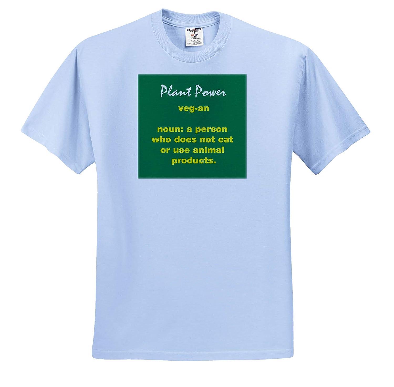 3dRose Kike Calvo Vegetarian and Vegan Yellow Vegan Definition on Green Background T-Shirts