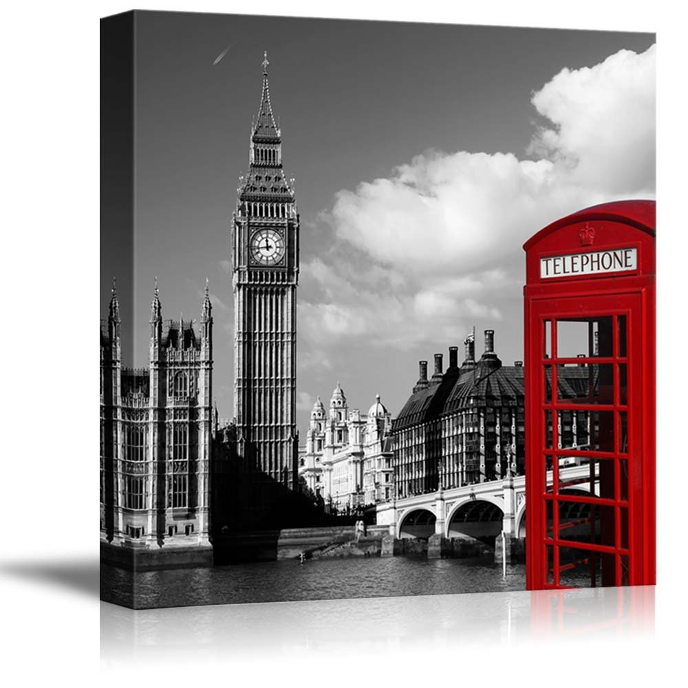 Amazon com wall26 black and white photograph of london with pop of color on the telephone booth canvas art home decor 12x12 inches posters prints