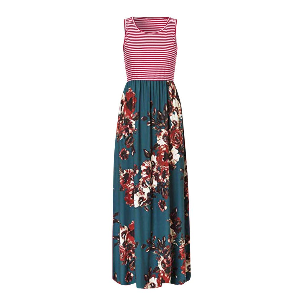 Women's Sleeveless Loose Printed Vacation Days Maxi Dresses Casual Long Dresses with Pockets