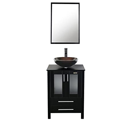 Eclife 24 Inch Bathroom Vanity Combo Modern MDF Cabinet With Mirror  Tempered Glass Counter Top In Vanity Combo1