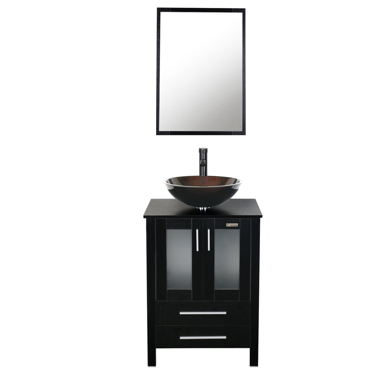 Eclife 24 inch Bathroom Vanity Combo Modern MDF Cabinet with Vanity Mirror Tempered Glass Counter Top Vessel Sink with 1.5 GPM Faucet and Pop Up Drain A1B2 by Eclife