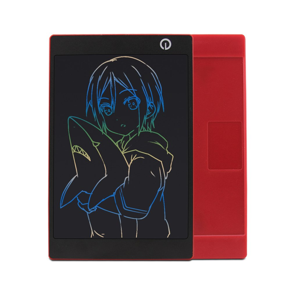 Colorful 9.7 Inch LCD Writing Tablet Drawing Board Portable Handwriting Pad Magnetic Fridge Message Whiteboard,Digital Electronic Notepad Graphic Graffiti Board for Kids Children (Red)