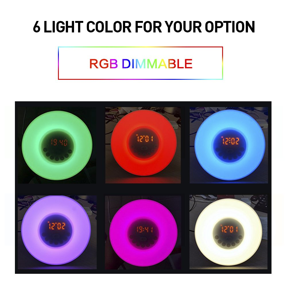Alarma Luz de Noche Wake Up Light Sunrise Simulaci/ón Despertador con 7 Colores Ajustables y Sonidos Naturales y 10 Ajustes de Brillo Como Radio FM Despertador