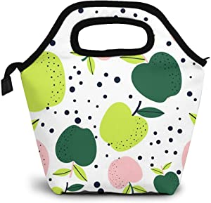 Reusable Lunch Bag,Green And Red Apple Lunch Bag Picnic Office Outdoor Thermal Carrying Gourmet Lunchbox Fresh Fruit Pattern Lunch Tote Container Tote Cooler Warm Pouch For Men,Women