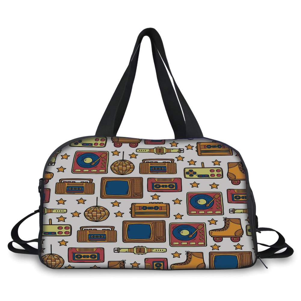 iPrint Travelling bag,90s,90s Theme with Old Style Recorder Stereo Television Roller Skate Shoes Electronic Watch,Mustard ,Personalized
