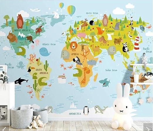 ZCHENG Cartón 3D Mapa del mundo Animal Papel tapiz Mural ...
