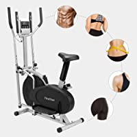 Finether Fitness Bike Cross Trainer and Exercise Bike Fan Bike with Adjustable Seat│Display Monitor│Pulse Heart Rate│Adjustable Resistance Levels│for Home Gym Office│150kg Capacity