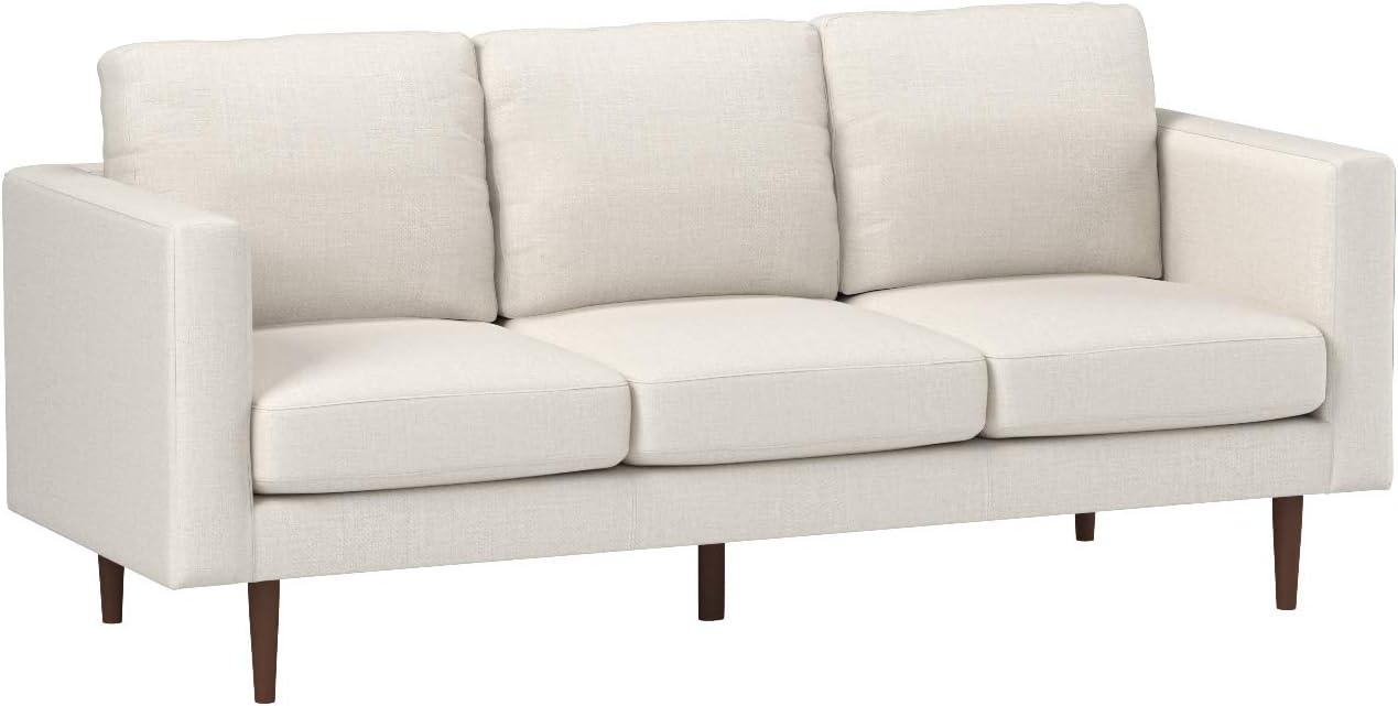 """Rivet Revolve Modern Upholstered Sofa with Tapered Legs, 79.9""""W, Linen"""