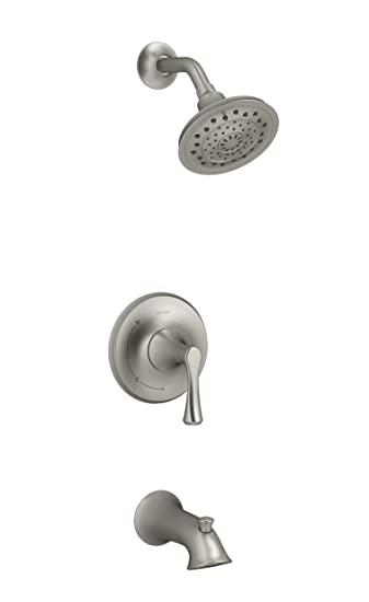 Brushed Nickel Kohler Shower Faucets.Lilyfield Kohler Brushed Nickel 1 Handle Bathtub And Shower Faucet With Valve R78048 4e Bn