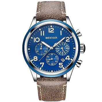 Gskj Reloj de Hombre Reloj de Cuarzo Moda Multifuncional Impermeable Reloj Casual Correa de Cuero Hombres