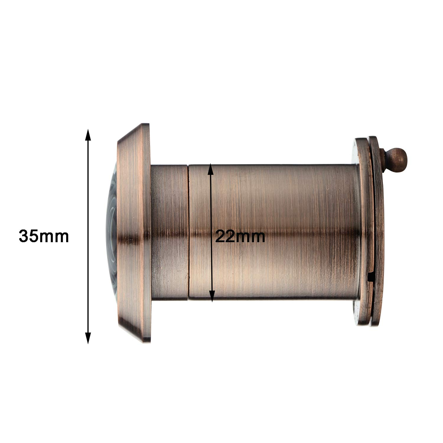 TOGU 3522 YG-AC Brass UL Listed 220-degree Door Viewer with Heavy Duty Privacy Cover for 1-3//8 to 2-1//6 Doors Antique Copper Finish