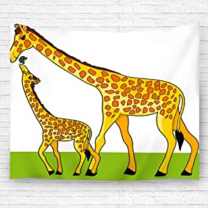 "txregxy Tapestry Wall Hanging Bedspread Beach Carpet Mother Giraffe is Feeding Her Baby Handicraft for Bedroom Living Room Dorm 39.4""(H) x59.1(W)"