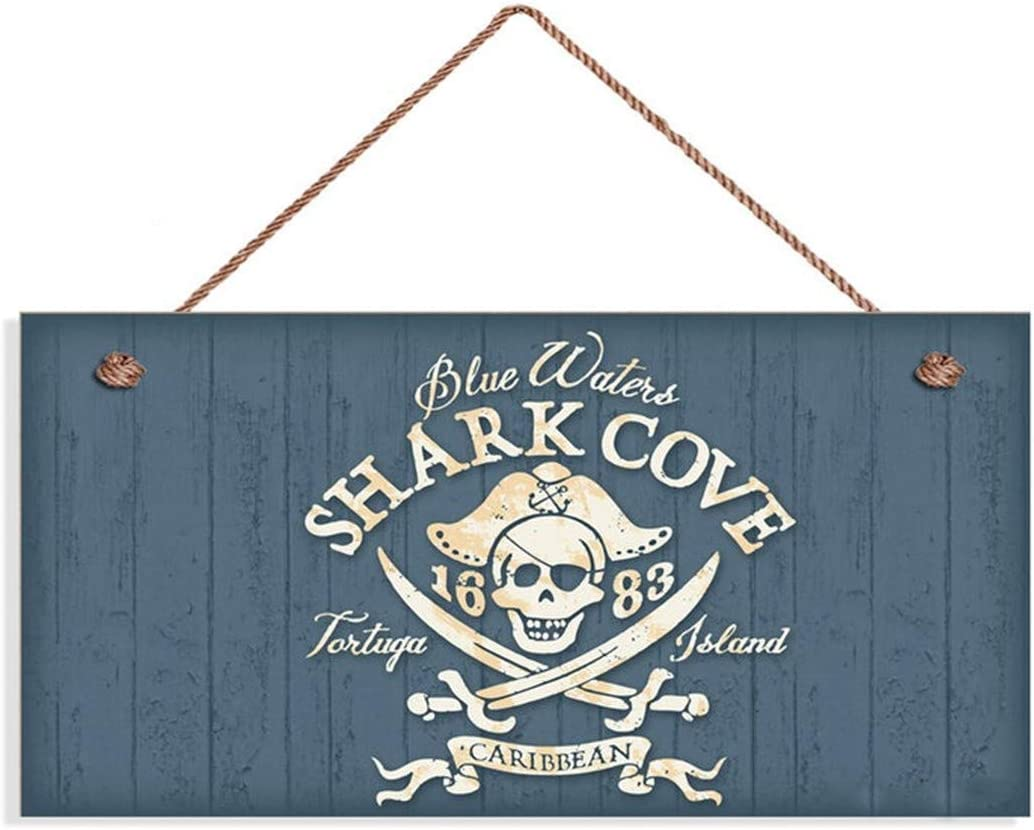 "na Pirate Beach Sign, Shark Cove, Caribbean 10"" x 5"" Sign, Ocean Waters, Beach House, Skull Sign"