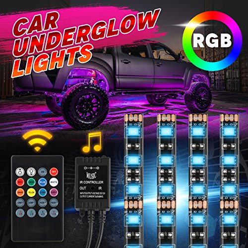 (Car Underglow Kit Lighting LED Jestar 4Pcs RGB Under Car Underbody Neon LED Lights Strip Tubes 2 x 36 inches 2 x 24 inches Waterproof LED Tubes SMD 5050 Sound Active with Remote Control)