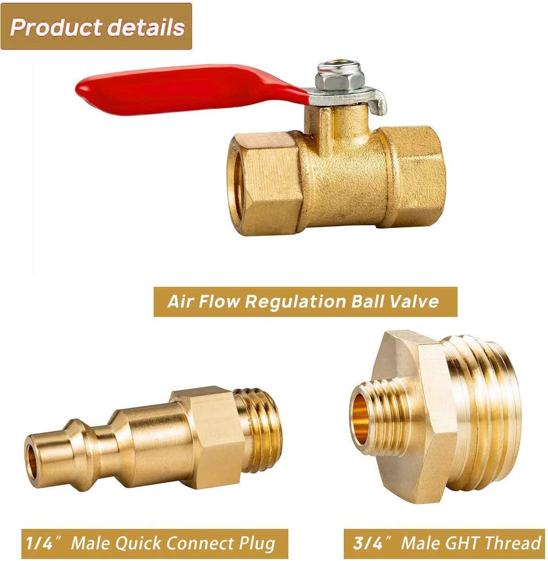 2Pcs, Bronze 2 Pcs Brass Winterize Adapter with Teflon Tape Hose Quick Connector RV Hose Quick Connect Fittings Garden 3//4 Ball Valve RV Water Pressure Regulator 1//4 Inch Male Quick Connecting Plug 3//4 Inch Male GHT Thread 1//4 Inch Ball Valve