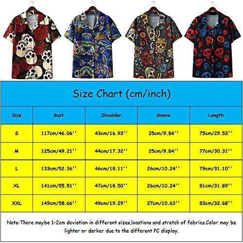 Sakoid Individual Design Skull and Rose Flower Print Short Sleeve Casual Beach Hawaiian Shirt Hawaiian Beach Shirts Tops (Red, M)
