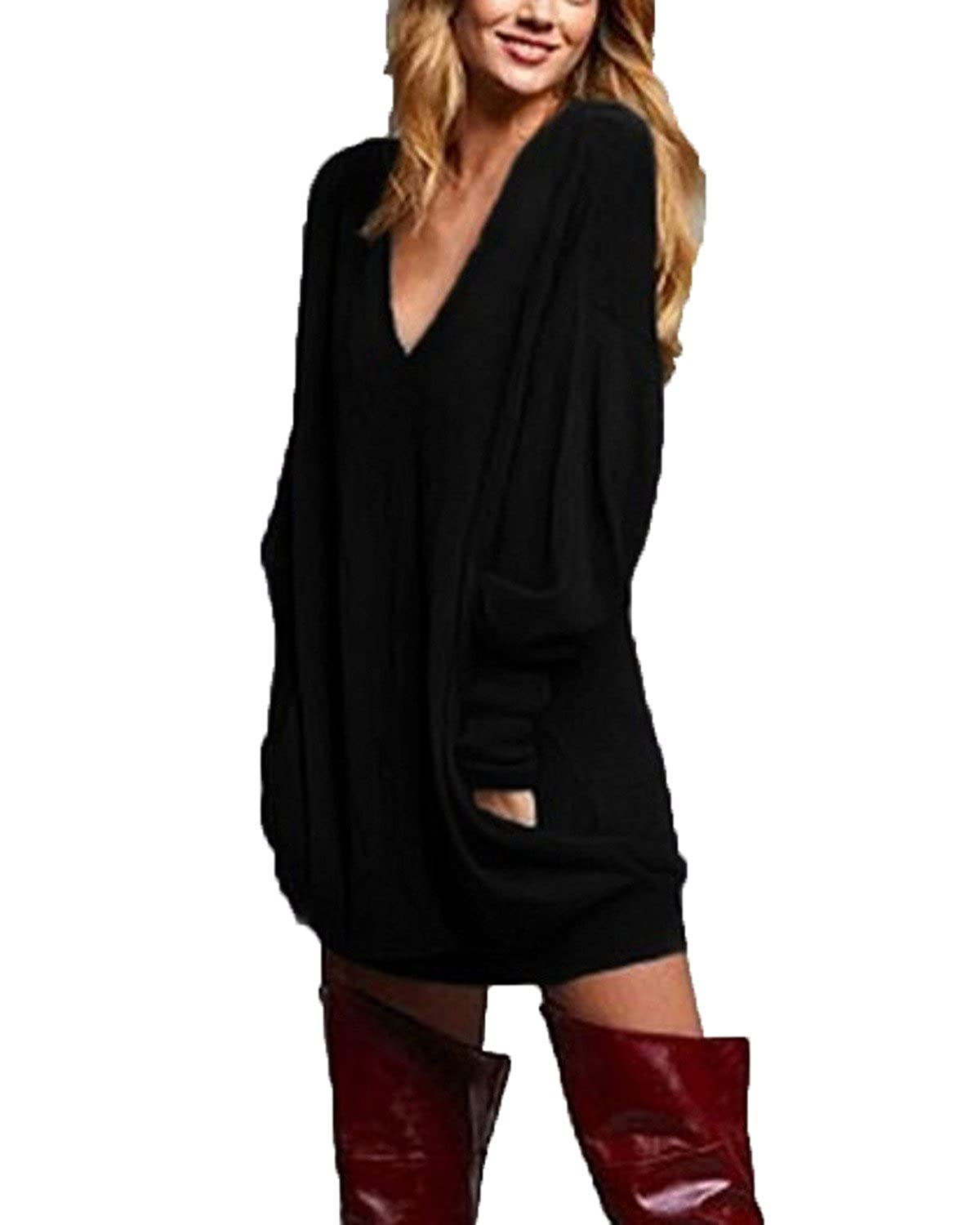 4578b2f82d ZANZEA Women s V Neck Long Sleeve Loose Baggy Jumper Tunic Tops Mini Dress  Pullover at Amazon Women s Clothing store