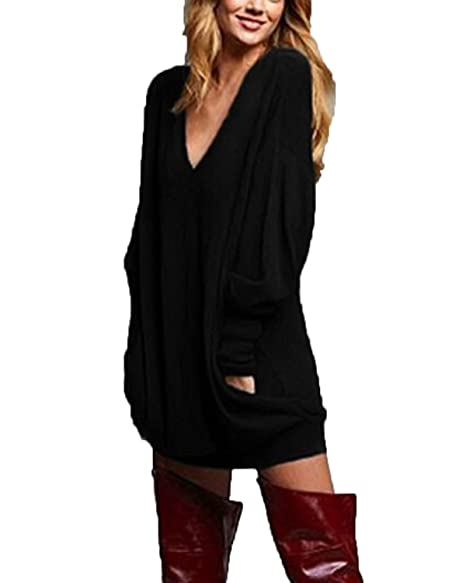 18c0403b5183c ZANZEA Women s V-Neck Long Sleeve Loose Blouse Jumper Tops Mini Dress  Pullover Black US