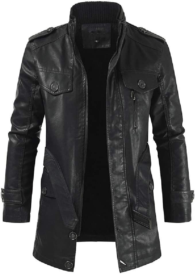 Little Story Stylish Mens Loose Lapel Large Collar Leather Button Down Coat Mens Fashion Gothic Long Coat Leather Coat