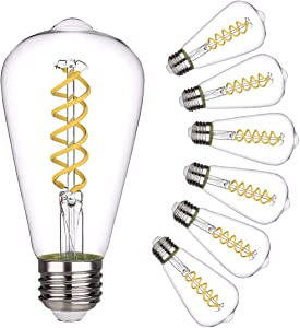 Vintage LED Edison Bulb,Daylight 5000K, Antique Style Flexible Spiral LED Filament Light Bulb, 4.5W Equivalent to 50W, ST19(ST64) Dimmable 450LM E26 Medium Base, Clear Glass (4.5W-5000K-6 Pack)