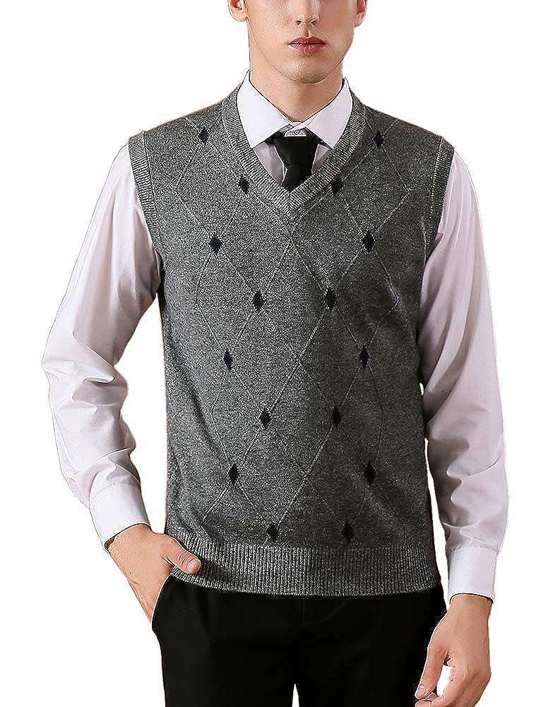 Jesdo Men's Casual Slim Fit V-Neck Rhombus Business Knitwear Sweater Vest
