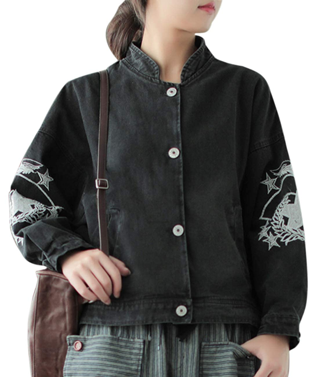 Eg1 Black YESNO WF9 Women Casual Long Button Down Denim Jacket Loose Fit Jean Trench Coat Outwear 4 5 Sleeve Ripped Large Flap Pockets