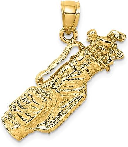 14K Yellow Gold /& White 20x13mm Crucifix Pendant