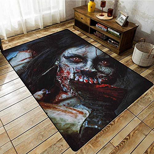 Collection Area Rug,Zombie,Scary Dead Woman with a Bloody Axe Evil Fantasy Gothic Mystery Halloween Picture,Extra Large Rug -